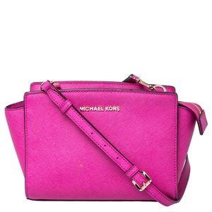 Michael Kora Hot Pink Saffiano Leather Crossbody